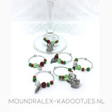 Set - 6 Wine Glass Charms Christmas Party